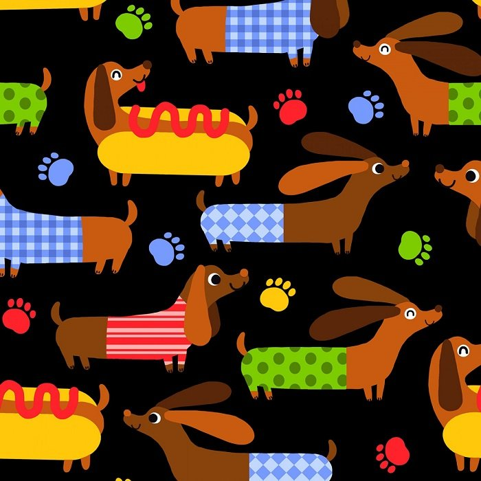 Dogs - Hot Dog in Black by Timeless Treasures