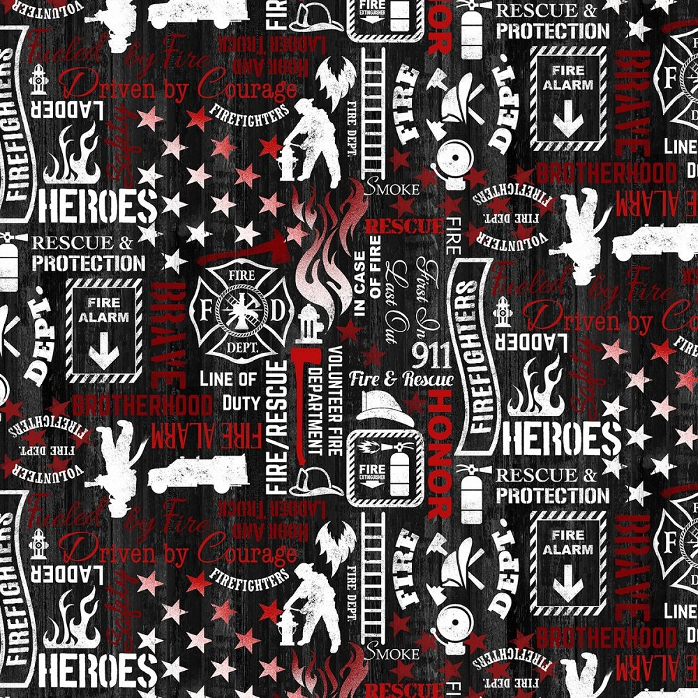 Fire & Rescue - Firefighter Words on Black by Timeless Treasures Collection for Timeless Treasures