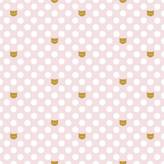 Chloe & Friends - Cat Dot in Pink with Sparkle by Melissa Mortensen for Riley Blake