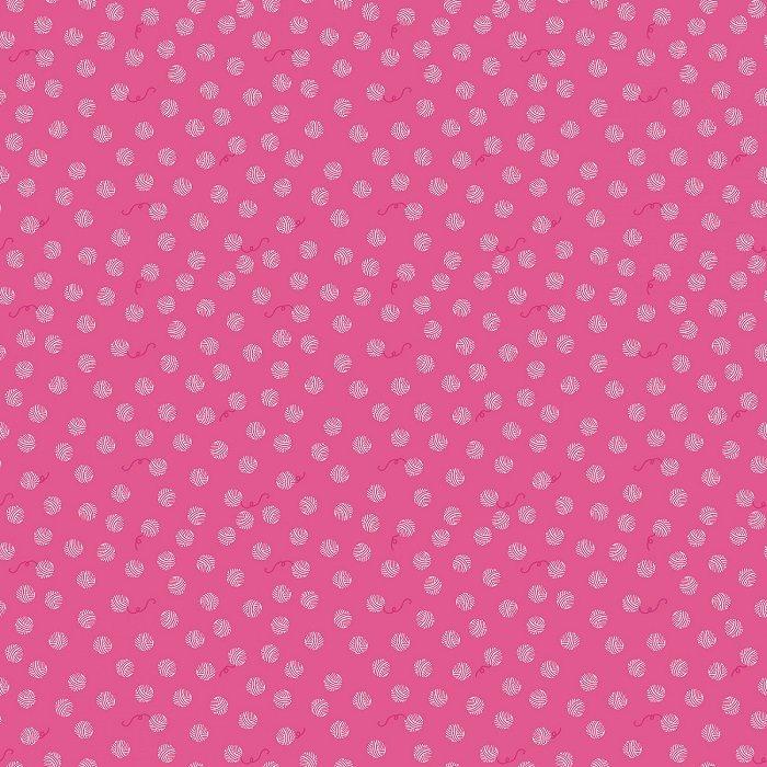Chloe & Friends - Yarn Ball in Hot Pink by Melissa Mortensen for Riley Blake