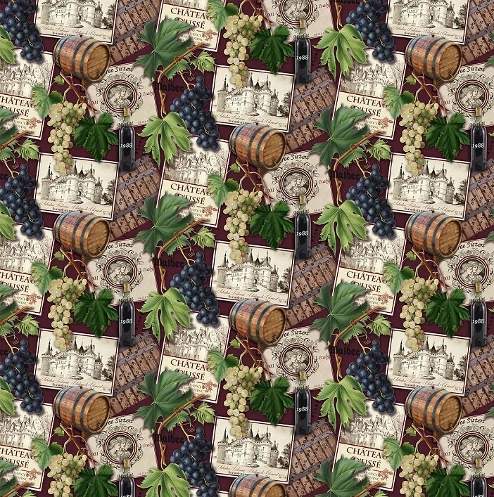 You Had Me At Wine - Wine Collage in Burgundy Multi by Deborah Edwards for Northcott