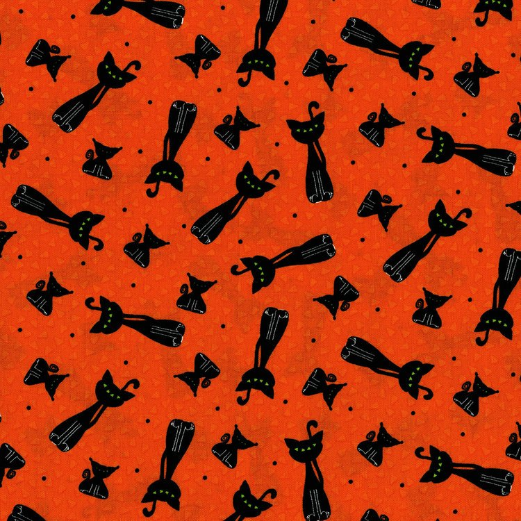 Happy Owl O Ween - Scary Kitty Toss on Orange by Sue Marsh for RJR Fabrics