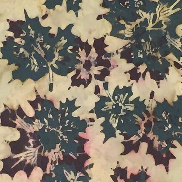 Canadiana Batiks - Overlapping Maple Leaves in Blue / Burgundy by Celestial Batiks