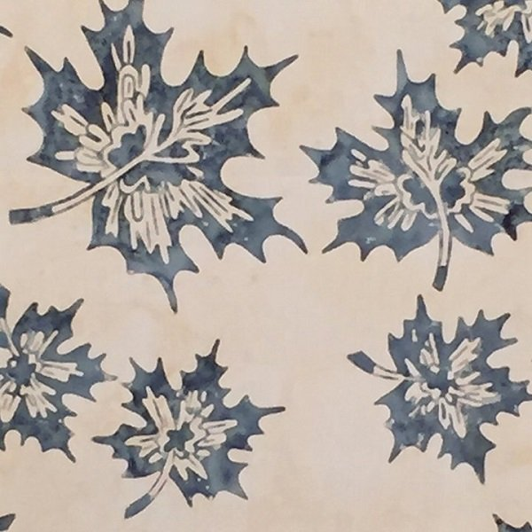 Canadiana Batiks - Maple Leaves in Denim on Natural by Celestial Batiks