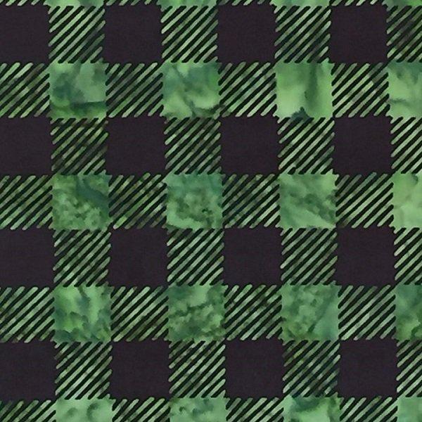 Canadiana Batiks - Buffalo Check in Green / Black by Celestial Batiks