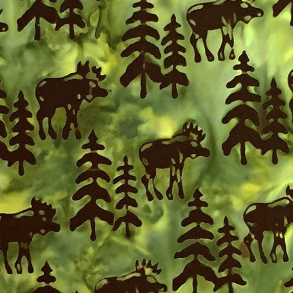 Canadiana Batiks - Moose on Green by Celestial Batiks