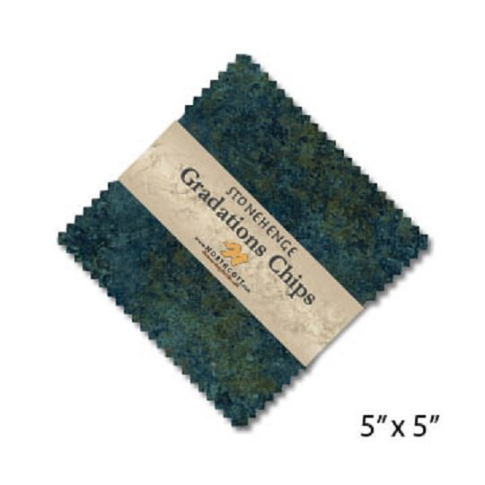Chips - Stonehenge Gradations in Blue Planet (42 x 5 squares) by Linda Ludovico for Northcott