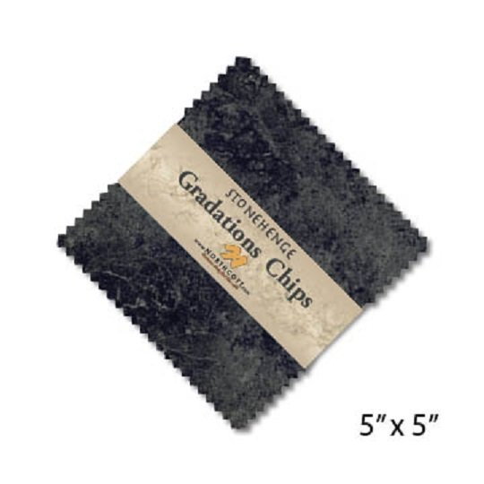 Chips - Stonehenge Gradations in Graphite (42 x 5 squares) by Linda Ludovico for Northcott