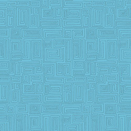 The Color Collection - Geometric Maze in Teal by Modern Quilt Studio for Andover
