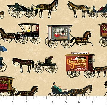Town and Country - Horse Drawn Wagons in Multi (digital print) by Charles Wysocki for Northcott