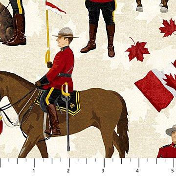 Canadian Classics - RCMP on Horses on Cream by Deborah Edwards for Northcott