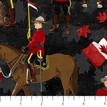 Canadian Classics - RCMP on Horses on Black by Deborah Edwards for Northcott