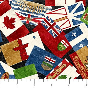Canadian Classics - Overlapping Flags in Multi by Deborah Edwards for Northcott
