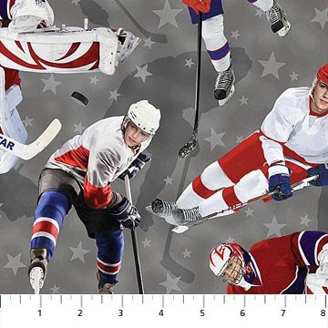 All Star Hockey - Players on Grey (Digital Print) by Vincent Zhang for Northcott