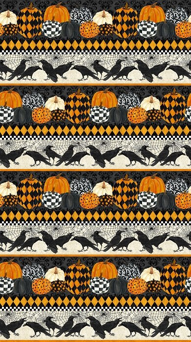 Raven's Claw - Border Print in Black by Andrea Tachiera for Northcott (digital print)