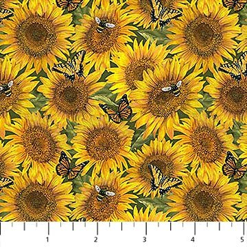 Country Paradise - Sunflowers in Yellow by Tom Wood for Northcott