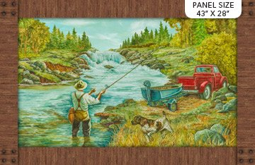 Panel - Rod and Reel Scene (43 x 28) Digital Print by Deborah Edwards for Northcott