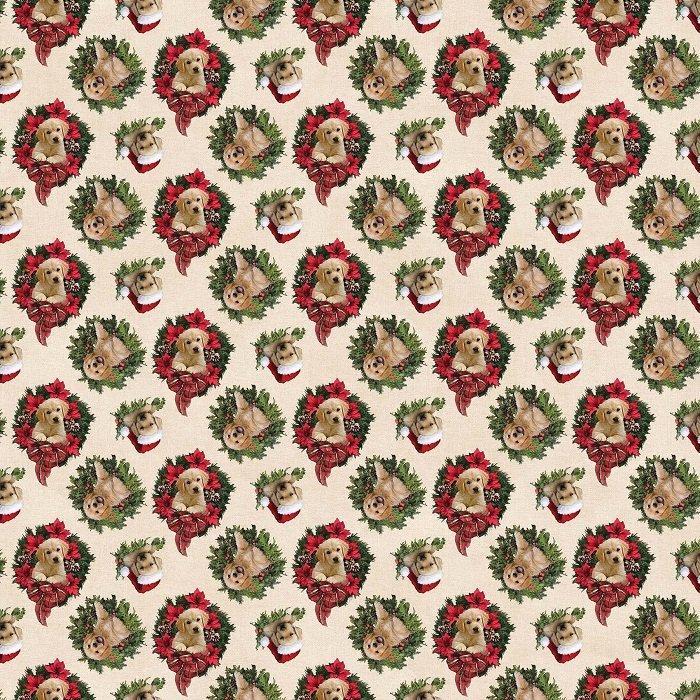 Santa's Helpers - Dog Wreaths in Beige Multi (Digital) by Jason Kirk for Northcott