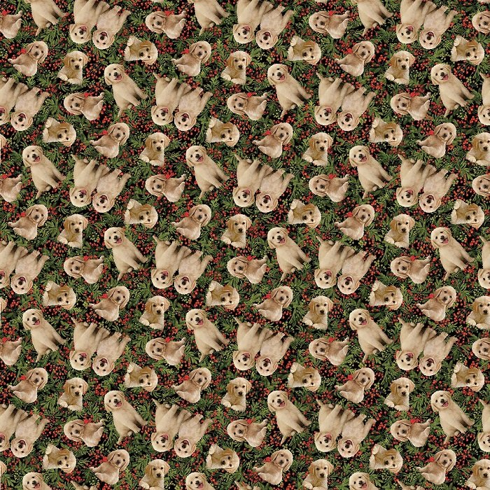 Santa's Helpers - Dogs on Green Multi (Digital) by Jason Kirk for Northcott