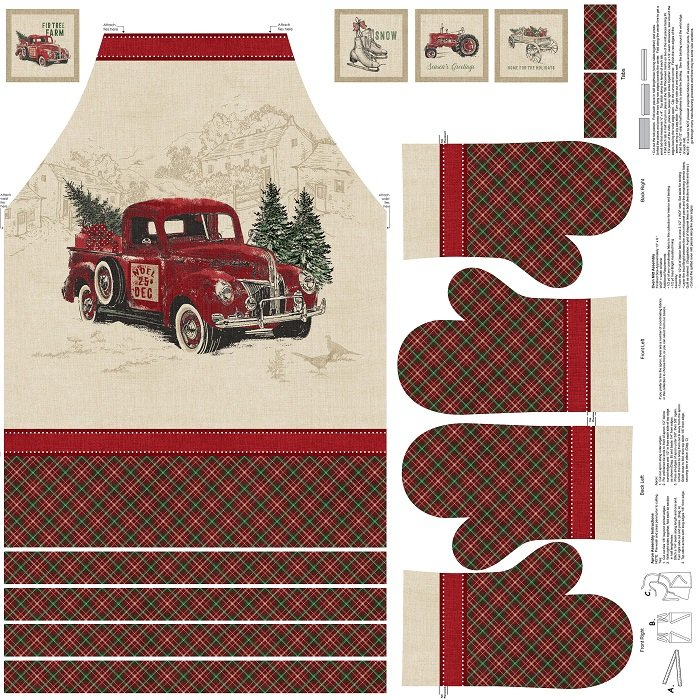 Panel - Vintage Christmas Apron and Oven Mitts in Beige Multi (Digital) by Melanie Samra for Northcott