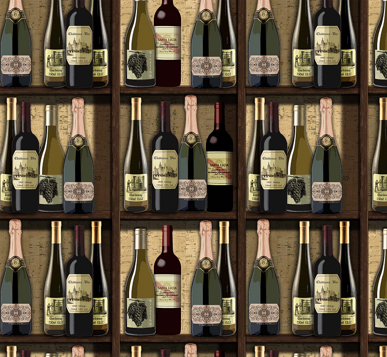 You Had Me At Wine - Wine Bottles in Beige Multi by Deborah Edwards for Northcott