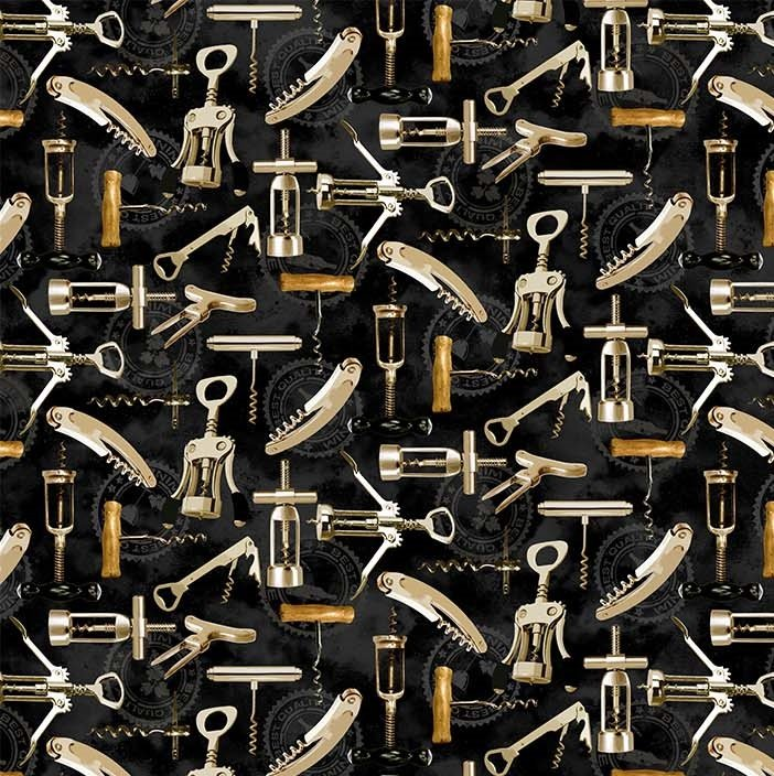 You Had Me At Wine - Corkscrews in Black Multi by Deborah Edwards for Northcott