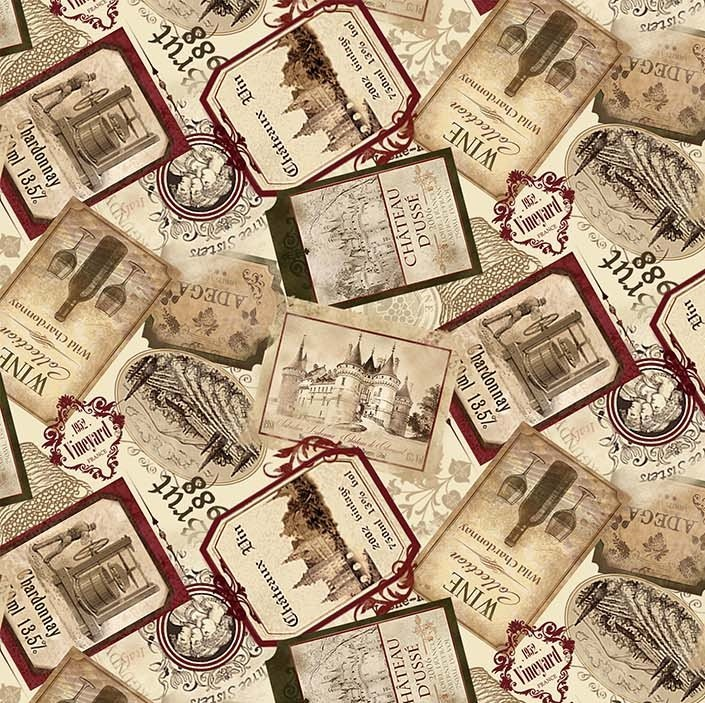 You Had Me At Wine - Wine Labels in Beige Multi by Deborah Edwards for Northcott