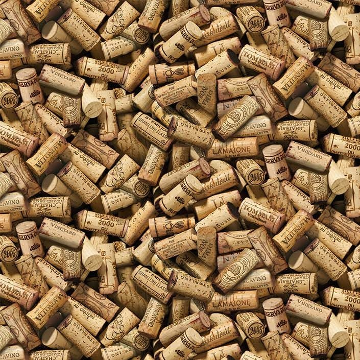 You Had Me At Wine - Wine Corks in Beige by Deborah Edwards for Northcott