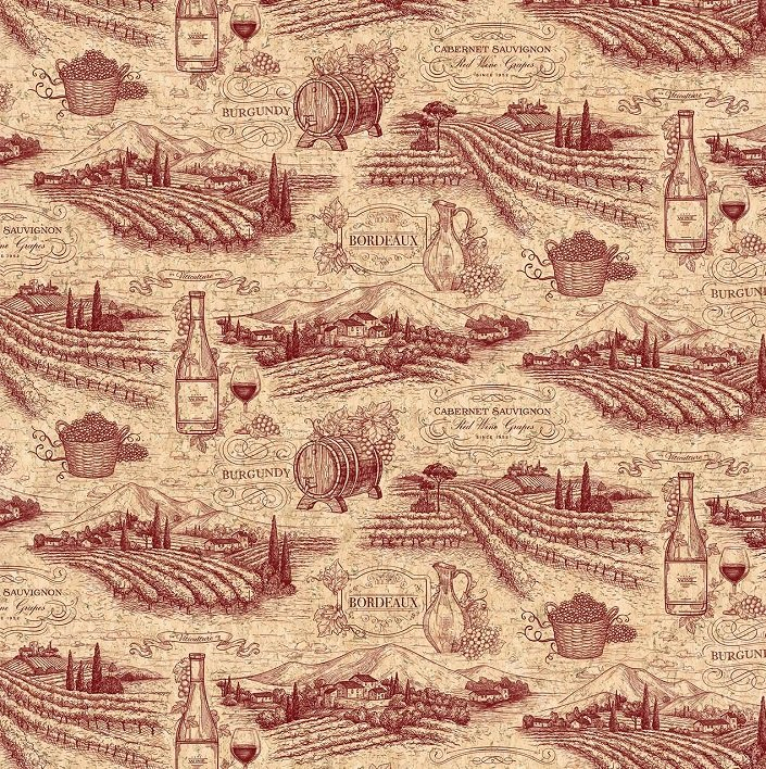 You Had Me At Wine - Vineyard Toile in Beige / Burgundy by Deborah Edwards for Northcott