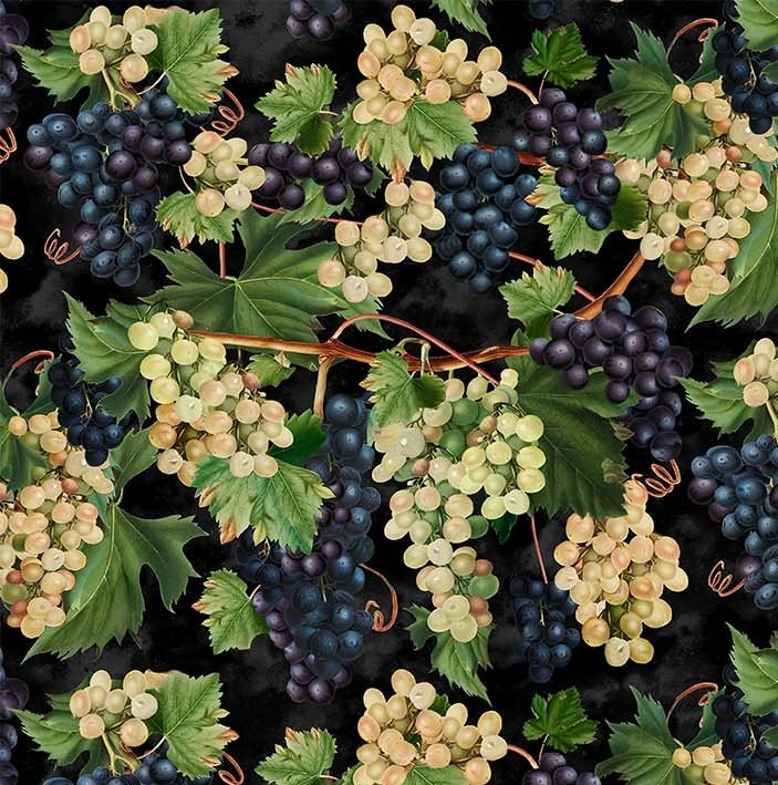 You Had Me At Wine - Large Grapevine in Black Multi by Deborah Edwards for Northcott