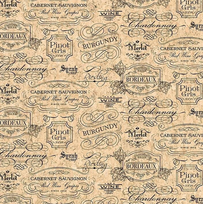 You Had Me At Wine - Label Toile in Beige / Black by Deborah Edwards for Northcott