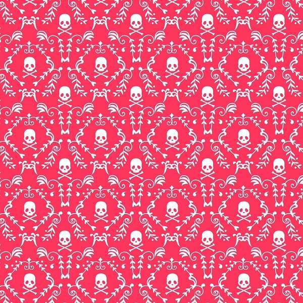 Punk Skull and Roses - Punk Rock Damask in Pink and White by David Textiles