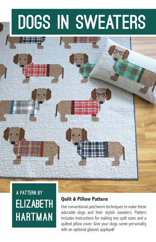 Pattern - Dogs in Sweaters (45 x 60 or 73 x 76) by Elizabeth Hartman