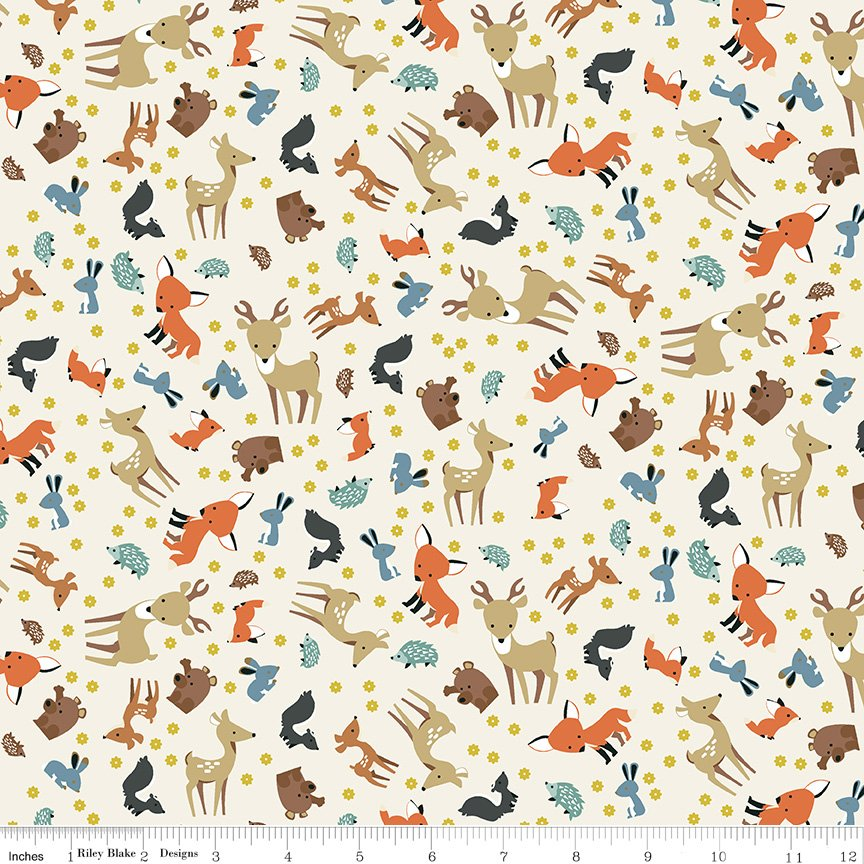 Woodland Flannel - Woodland Animal Toss in Parchment by Ben Byrd for Riley Blake