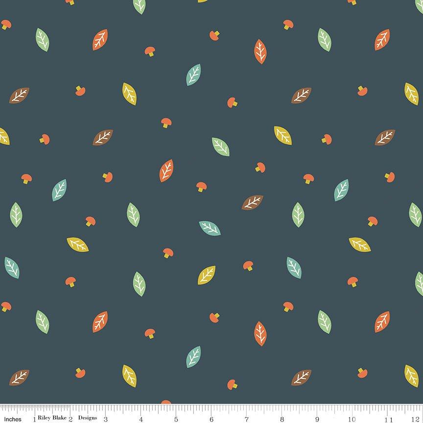 Woodland Flannel - Woodland Leaf in Navy by Ben Byrd for Riley Blake