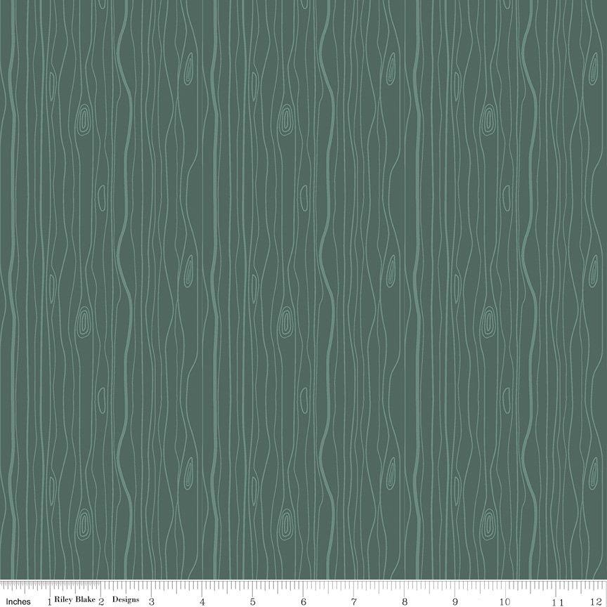 Woodland Flannel - Wood Grain in Green by Ben Byrd for Riley Blake