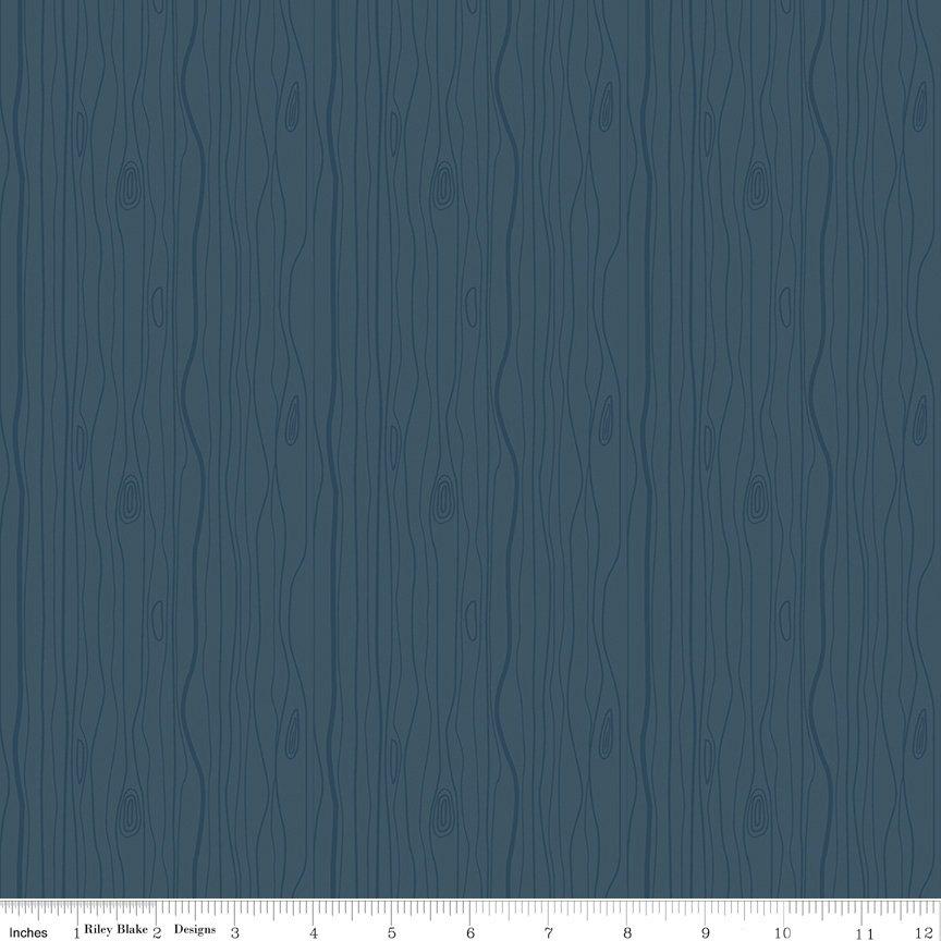 Woodland Flannel - Wood Grain in Navy by Ben Byrd for Riley Blake