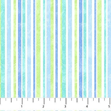Let It Snow Flannel - Stripe in Blue and Green by Deborah Edwards for Northcott