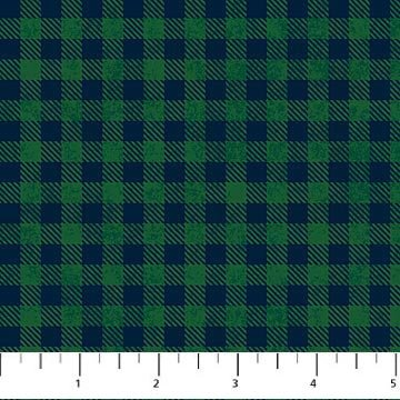 Mountain Lodge Flannel - Check in Green and Blue by Northcott