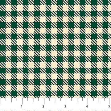Mountain Lodge Flannel - Check in Green and White by Northcott