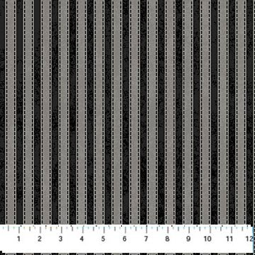 Mountain Lodge Flannel - Stripe in Black and Gray by Northcott