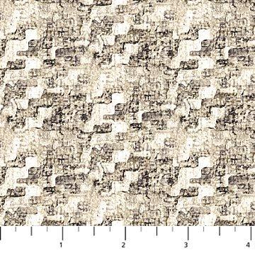Haberdashery Flannel - Mottled Plaid in Cream/Brown by Deborah Edwards