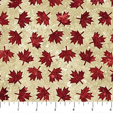 Oh Canada Flannel 2019 - Maple Leaves on Beige by Deborah Edwards and Linda Ludovico for Northcott