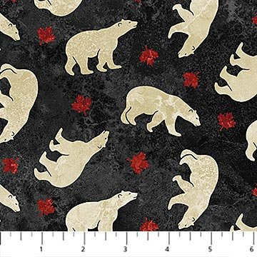 Oh Canada Flannel 2019 - Polar Bears on Black by Deborah Edwards and Linda Ludovico for Northcott