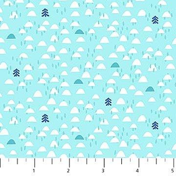 Yeti for Winter Flannel - Igloos on Aqua by Northcott Studio for Northcott