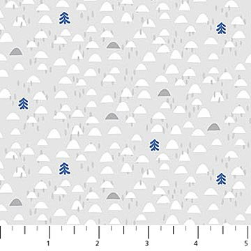 Yeti for Winter Flannel - Igloos on Grey by Northcott Studio for Northcott