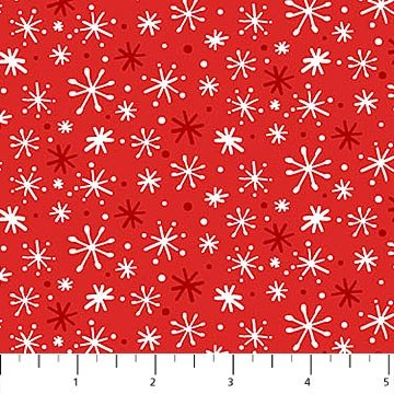 Yeti for Winter Flannel - Snowflakes on Red by Northcott Studio for Northcott