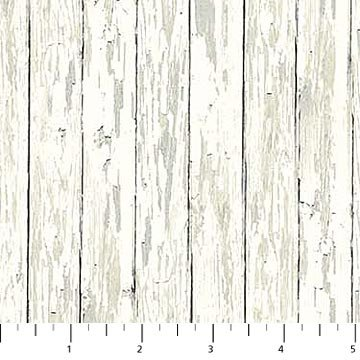 Enchanted Forest Flannel - Distressed Fence in White by Hilltop Designs for Northcott