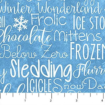 Below Zero Flannel - Winter Words on Blue by Deborah Edwards for Northcott
