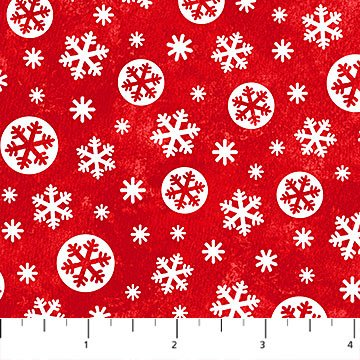 Below Zero Flannel - Snowflakes on Red by Deborah Edwards for Northcott